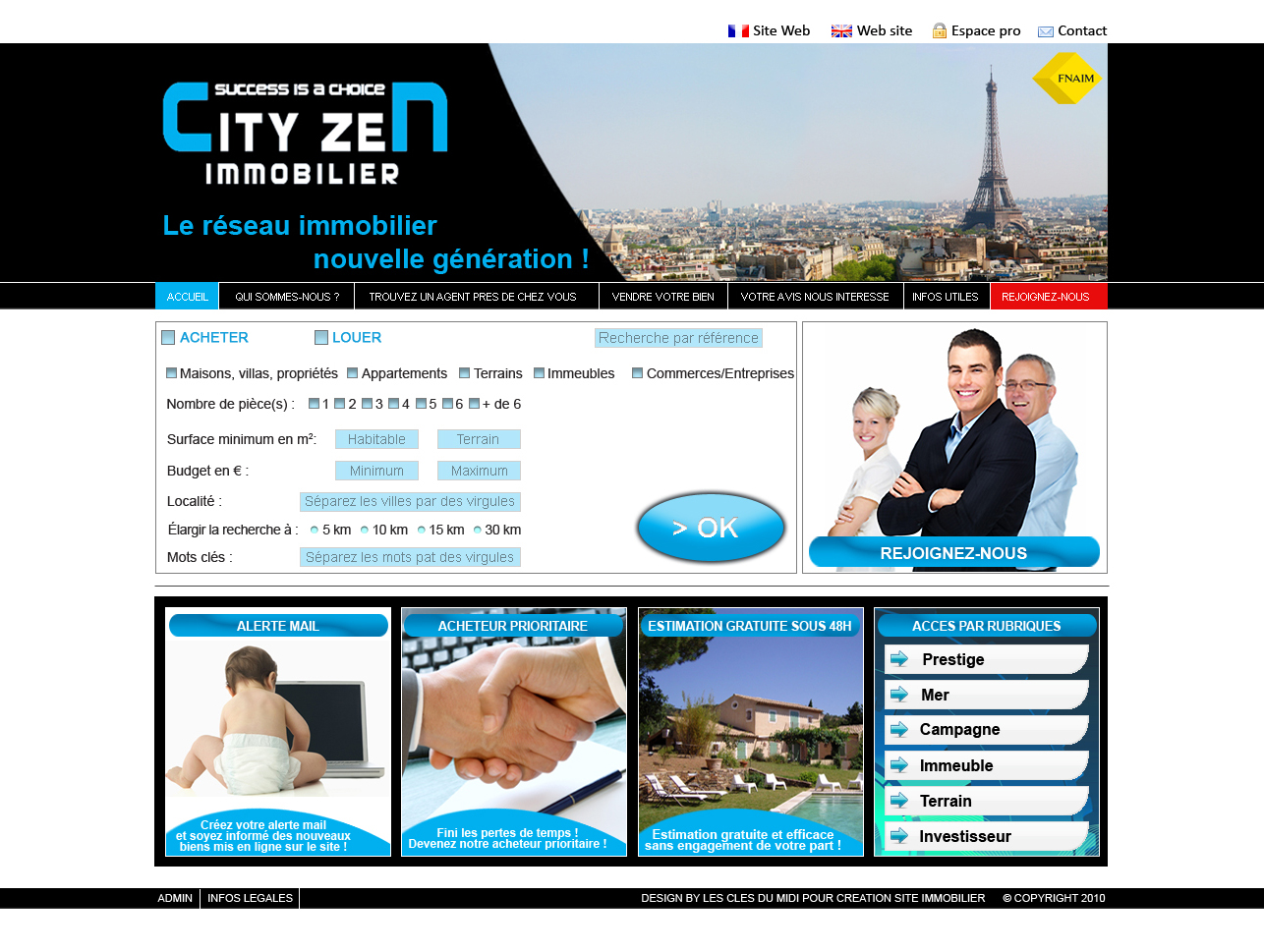 Cr ation site immobilier sur mesure charte graphique for Immobilier site